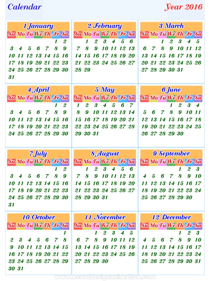 calendar2016 horizontal and vertical